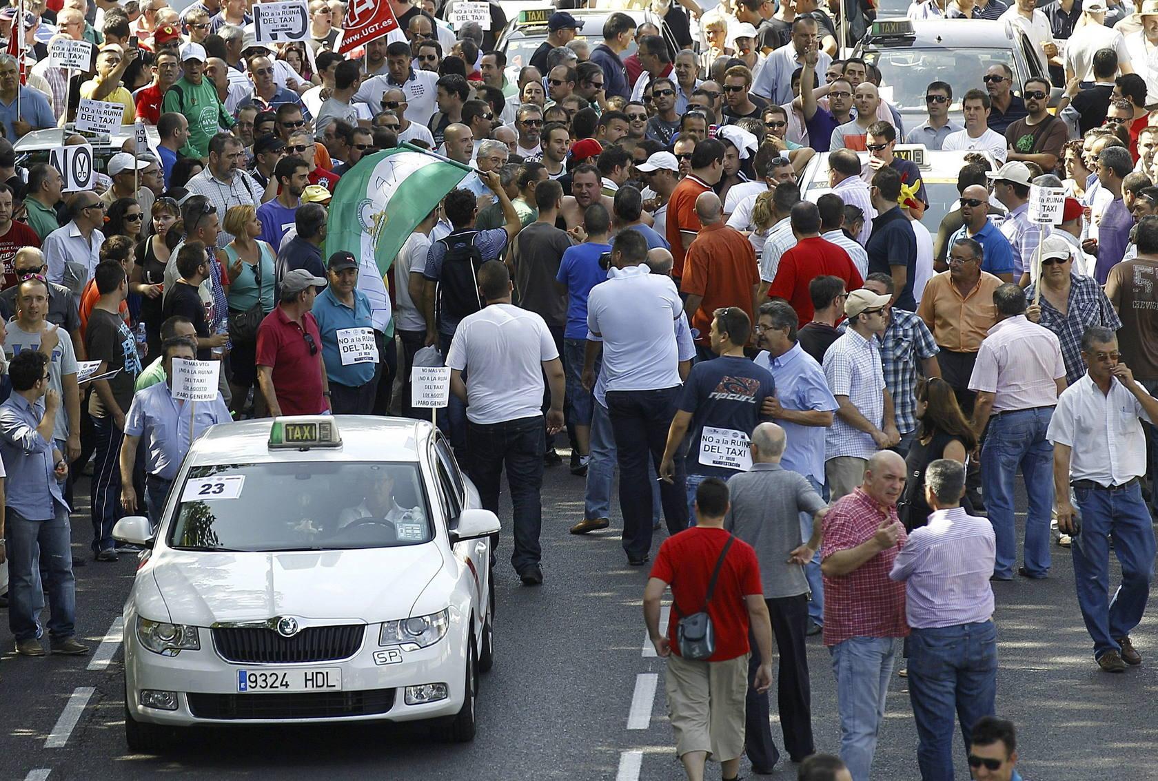 Los taxistas han convocado en Madrid una manifestación contra la nueva Ley de Ordenación del Transporte Terrestre