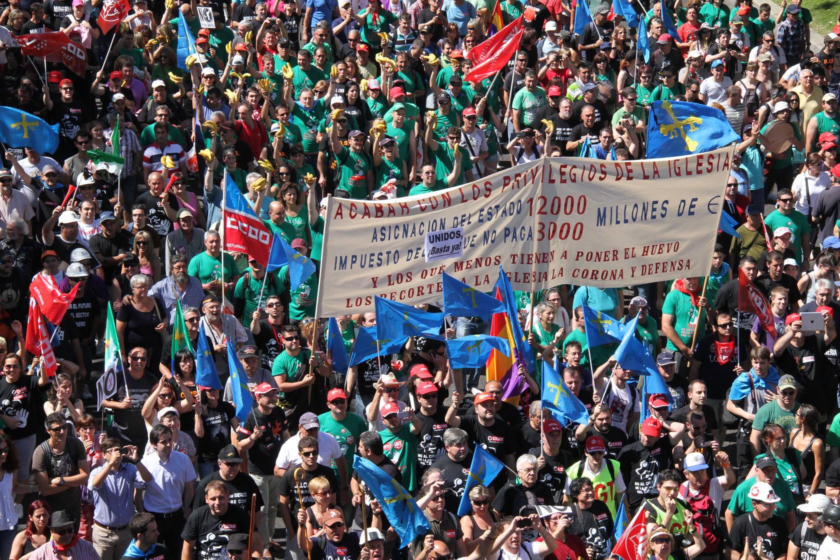 Los mineros marchan por Madrid hasta el Ministerio de Industria