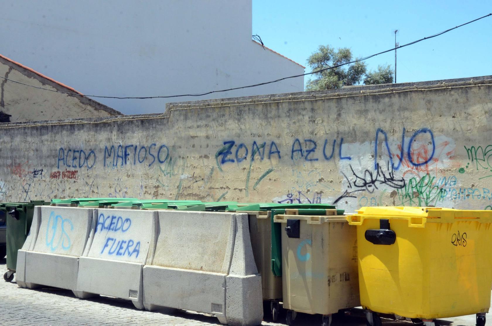 Pintadas contra la zona azul en Mérida